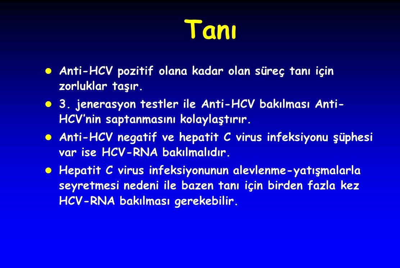 Tanı l Anti-HCV pozitif olana kadar olan süreç tanı için zorluklar taşır. l 3. jenerasyon testler ile Anti-HCV bakılması Anti- HCV'nin saptanmasını ko