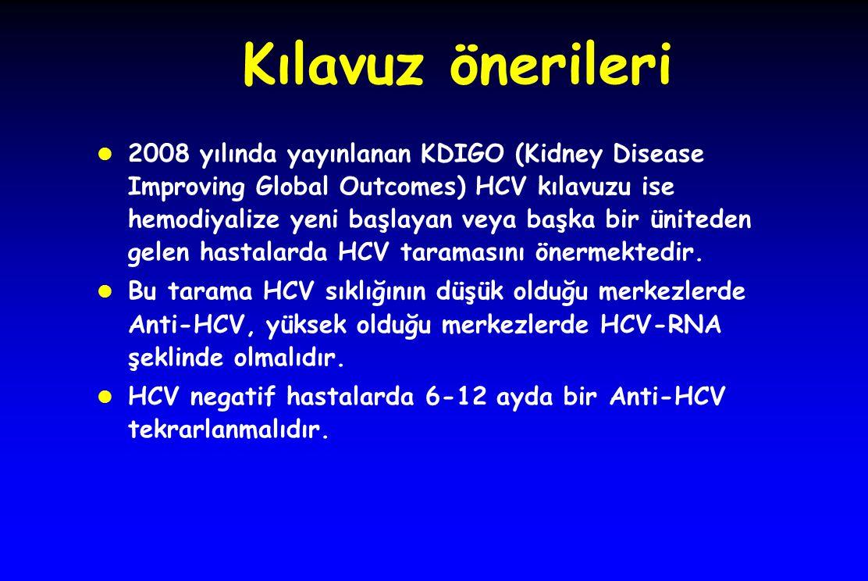 Kılavuz önerileri l 2008 yılında yayınlanan KDIGO (Kidney Disease Improving Global Outcomes) HCV kılavuzu ise hemodiyalize yeni başlayan veya başka bir üniteden gelen hastalarda HCV taramasını önermektedir.