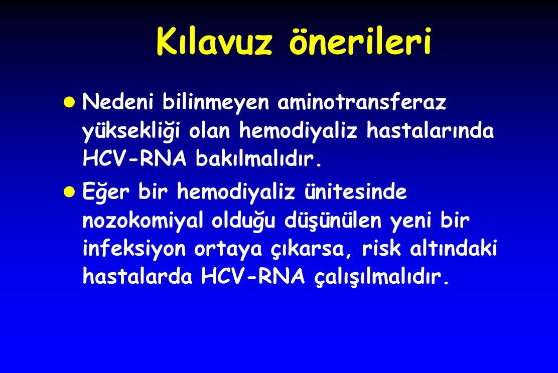 Kılavuz önerileri l Nedeni bilinmeyen aminotransferaz yüksekliği olan hemodiyaliz hastalarında HCV-RNA bakılmalıdır. l Eğer bir hemodiyaliz ünitesinde