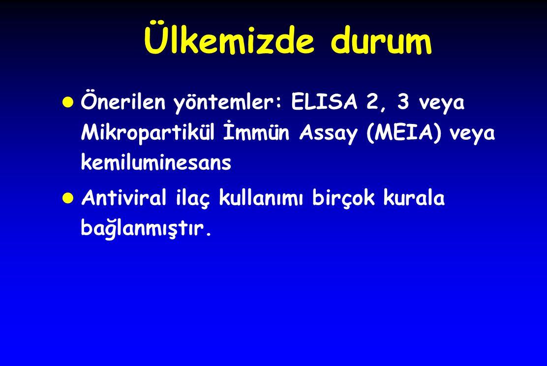Ülkemizde durum Önerilen yöntemler: ELISA 2, 3 veya Mikropartikül İmmün Assay (MEIA) veya kemiluminesans Antiviral ilaç kullanımı birçok kurala bağlan