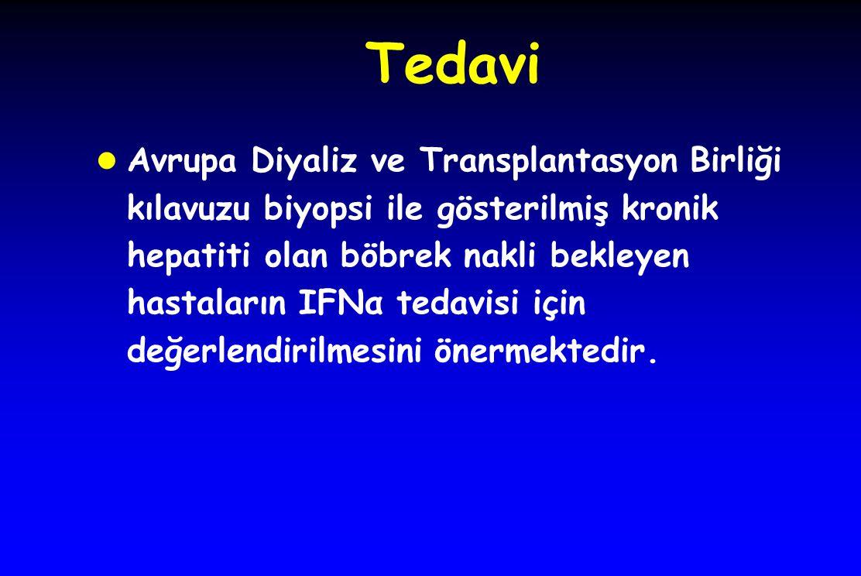 Tedavi l Avrupa Diyaliz ve Transplantasyon Birliği kılavuzu biyopsi ile gösterilmiş kronik hepatiti olan böbrek nakli bekleyen hastaların IFNα tedavisi için değerlendirilmesini önermektedir.