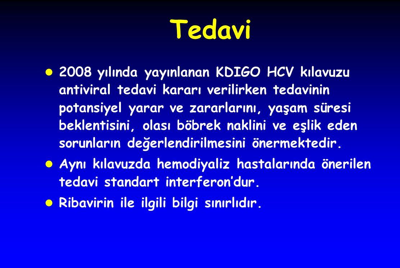 Tedavi l 2008 yılında yayınlanan KDIGO HCV kılavuzu antiviral tedavi kararı verilirken tedavinin potansiyel yarar ve zararlarını, yaşam süresi beklentisini, olası böbrek naklini ve eşlik eden sorunların değerlendirilmesini önermektedir.