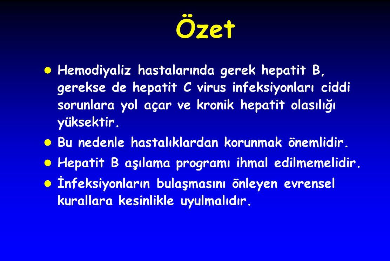 Özet l Hemodiyaliz hastalarında gerek hepatit B, gerekse de hepatit C virus infeksiyonları ciddi sorunlara yol açar ve kronik hepatit olasılığı yüksek