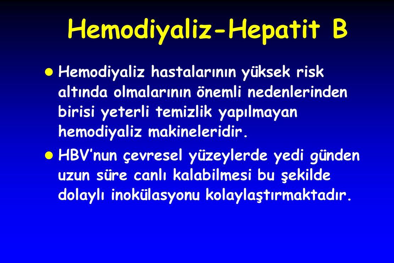 Hemodiyaliz-Hepatit B l Tüm dünyada olduğu gibi ülkemizde de HBs yüzey antijeni pozitif hastaların oda ve/veya makinelerinin ayrılması hemodiyaliz hastalarının HBV infeksiyon riskini azaltmıştır.