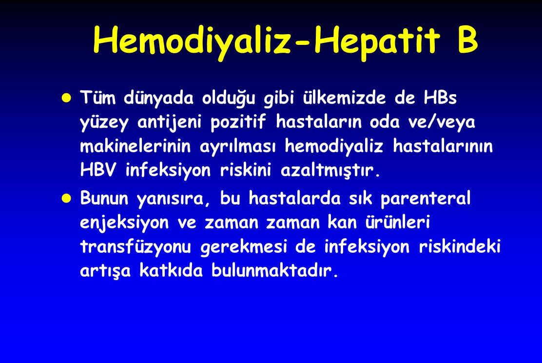 Hemodiyaliz-Hepatit B l Tüm dünyada olduğu gibi ülkemizde de HBs yüzey antijeni pozitif hastaların oda ve/veya makinelerinin ayrılması hemodiyaliz has