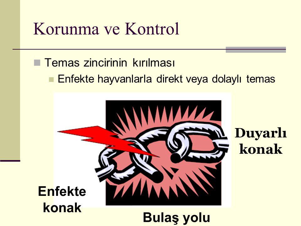 Korunma ve Kontrol Temas zincirinin kırılması Enfekte hayvanlarla direkt veya dolaylı temas Enfekte konak Duyarlı konak Bulaş yolu