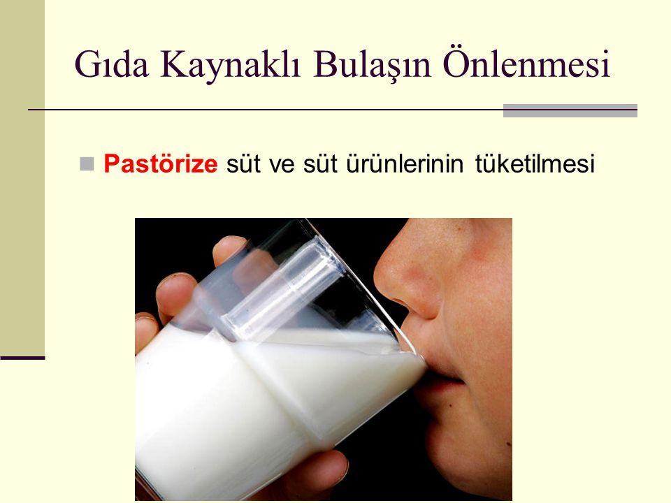 Gıda Kaynaklı Bulaşın Önlenmesi Pastörize süt ve süt ürünlerinin tüketilmesi