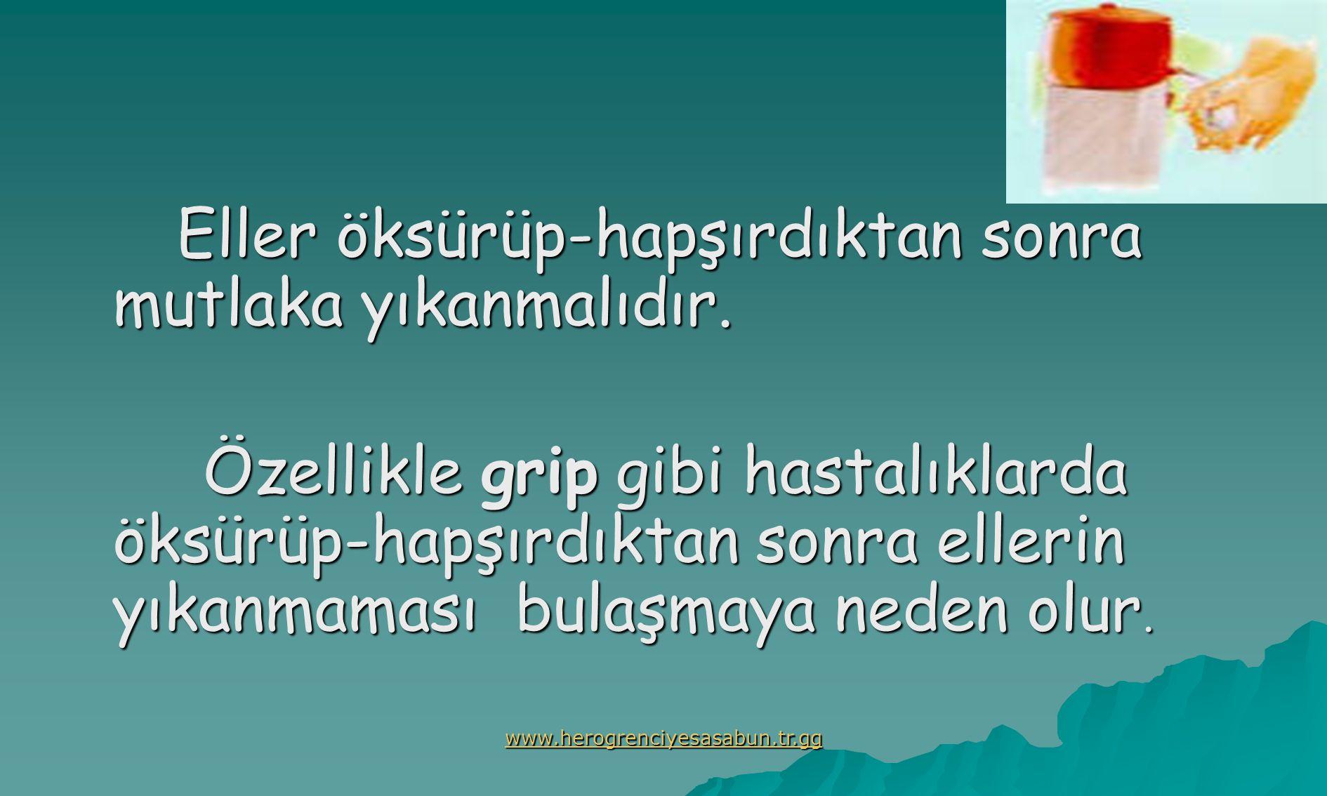 www.herogrenciyesasabun.tr.gg Eller öksürüp-hapşırdıktan sonra mutlaka yıkanmalıdır.