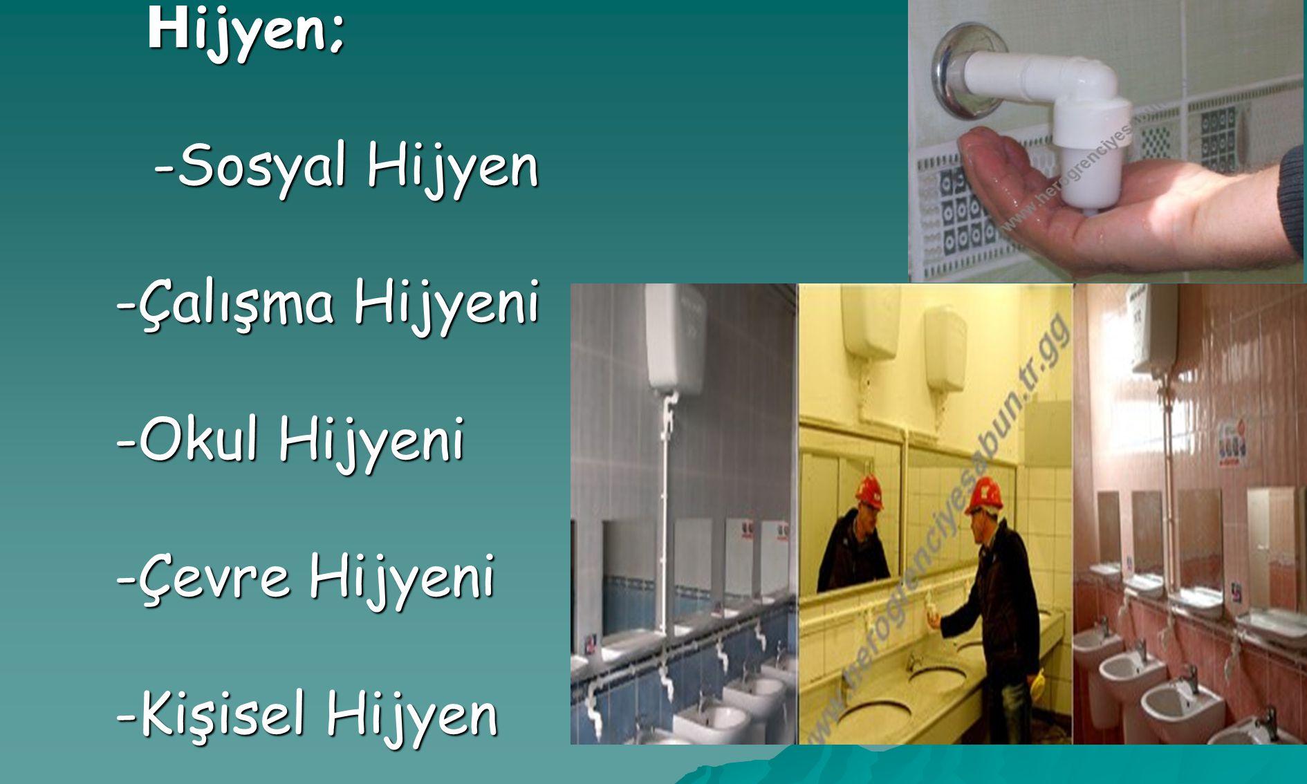 H ijyen; H ijyen; -Sosyal Hijyen -Sosyal Hijyen -Çalışma Hijyeni -Çalışma Hijyeni -Okul Hijyeni -Okul Hijyeni -Çevre Hijyeni -Çevre Hijyeni -Kişisel Hijyen -Kişisel Hijyen