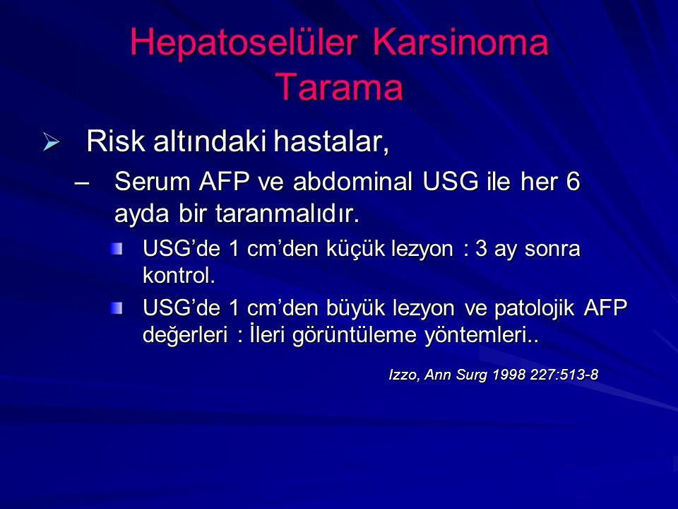 Hepatoselüler Karsinoma Tarama  Risk altındaki hastalar, –Serum AFP ve abdominal USG ile her 6 ayda bir taranmalıdır.