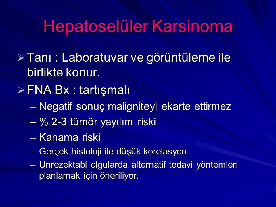 Hepatoselüler Karsinoma  Tanı : Laboratuvar ve görüntüleme ile birlikte konur.