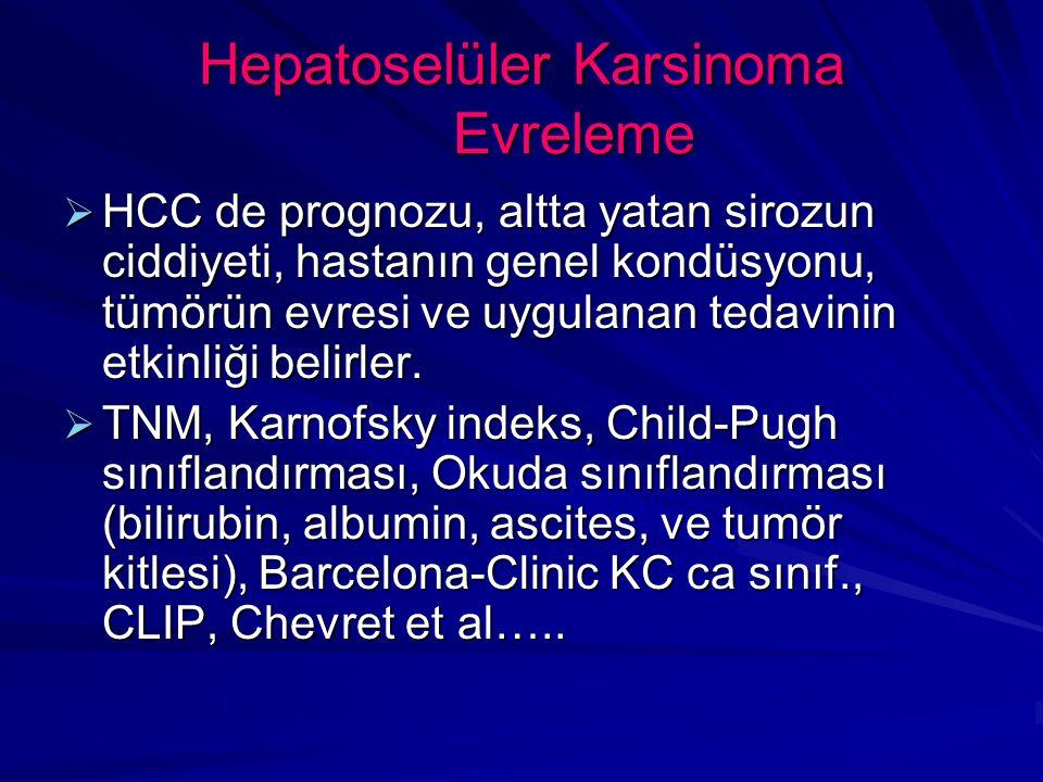 Hepatoselüler Karsinoma Evreleme  HCC de prognozu, altta yatan sirozun ciddiyeti, hastanın genel kondüsyonu, tümörün evresi ve uygulanan tedavinin etkinliği belirler.