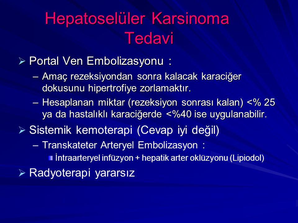 Hepatoselüler Karsinoma Tedavi  Portal Ven Embolizasyonu : –Amaç rezeksiyondan sonra kalacak karaciğer dokusunu hipertrofiye zorlamaktır.
