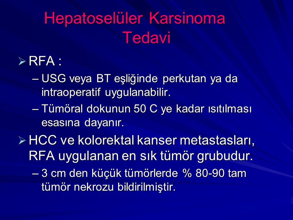 Hepatoselüler Karsinoma Tedavi  RFA : –USG veya BT eşliğinde perkutan ya da intraoperatif uygulanabilir.