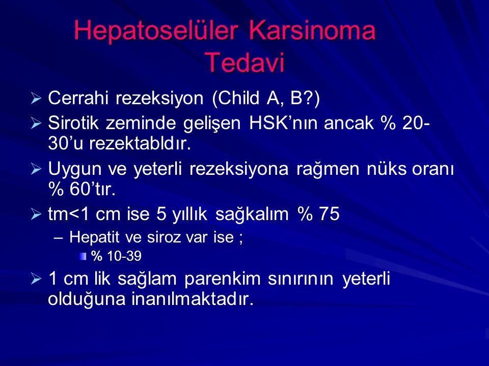 Hepatoselüler Karsinoma Tedavi   Cerrahi rezeksiyon (Child A, B?)   Sirotik zeminde gelişen HSK'nın ancak % 20- 30'u rezektabldır.