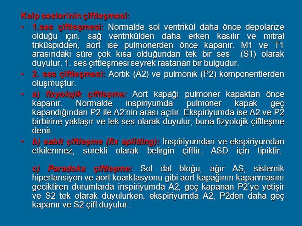 Kalp seslerinin çiftleşmesi: 1.ses çiftleşmesi: Normalde sol ventrikül daha önce depolarize olduğu için, sağ ventrikülden daha erken kasılır ve mitral