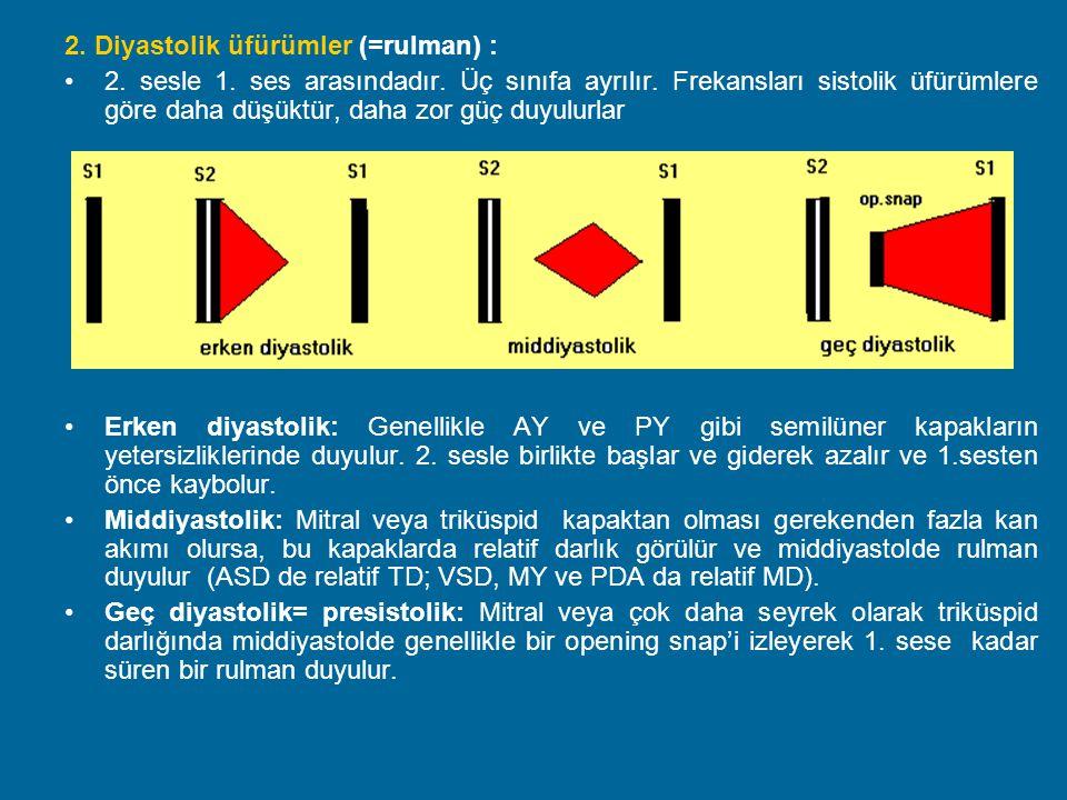 2. Diyastolik üfürümler (=rulman) : 2. sesle 1. ses arasındadır. Üç sınıfa ayrılır. Frekansları sistolik üfürümlere göre daha düşüktür, daha zor güç d