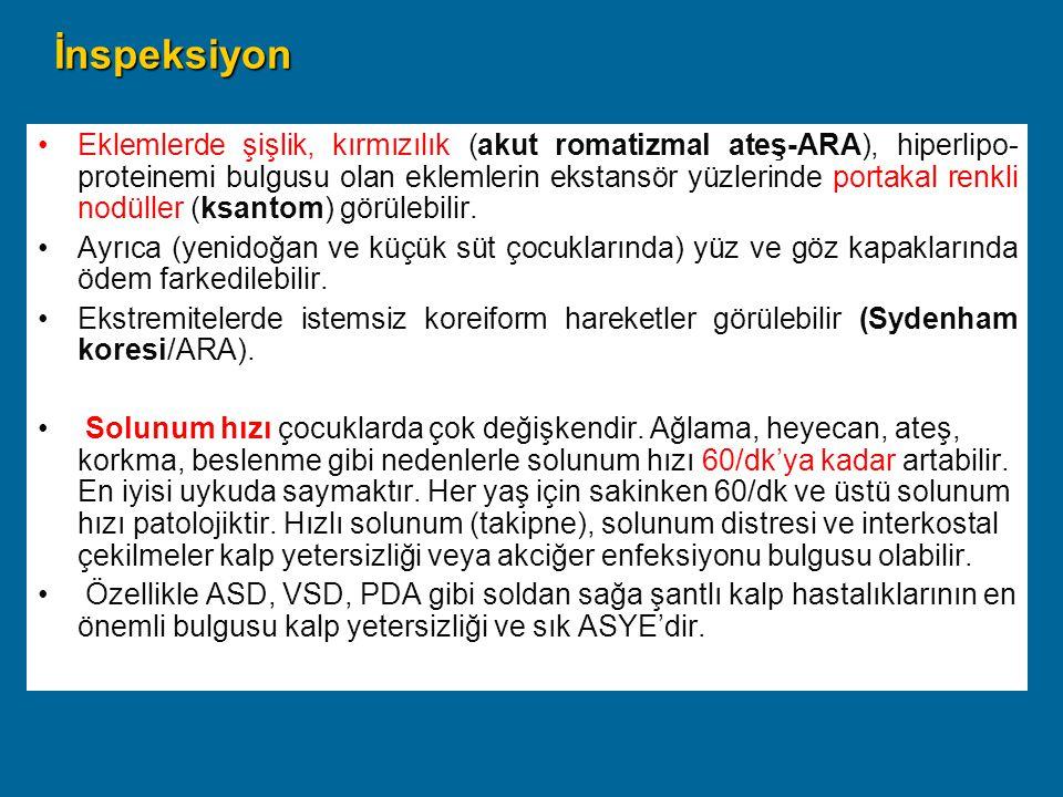 PALPASYON-1 Nabız Hız:Hız: –Artmış - Yüksek ateş, egzersiz, KY, aritmi, miyokardit, –Azalmış ; blok,digital.