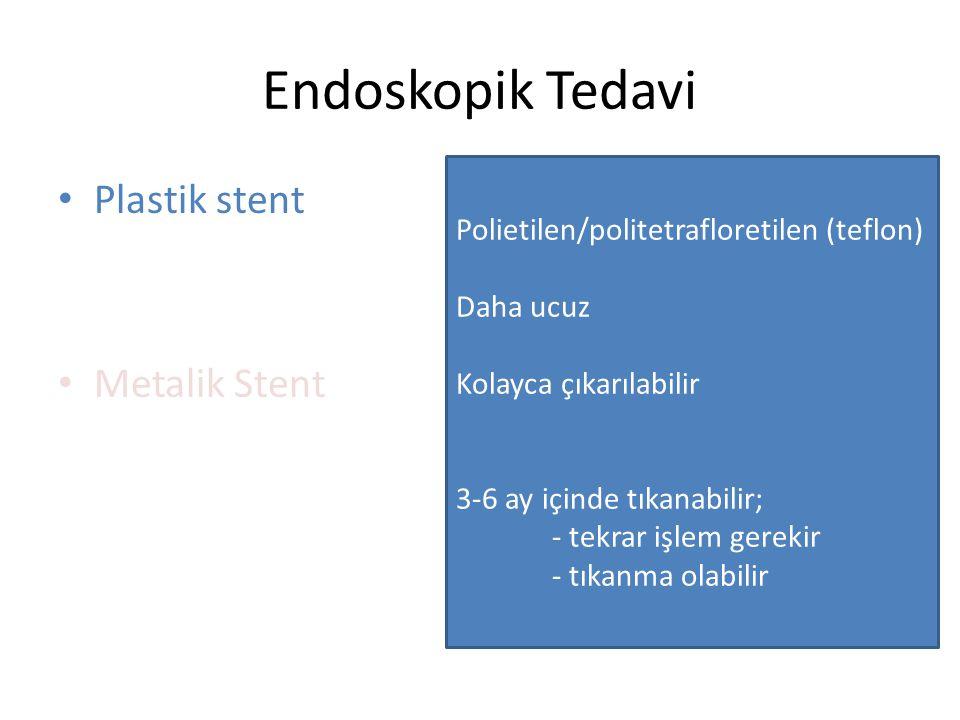 Endoskopik Tedavi Plastik stent Metalik Stent Polietilen/politetrafloretilen (teflon) Daha ucuz Kolayca çıkarılabilir 3-6 ay içinde tıkanabilir; - tek
