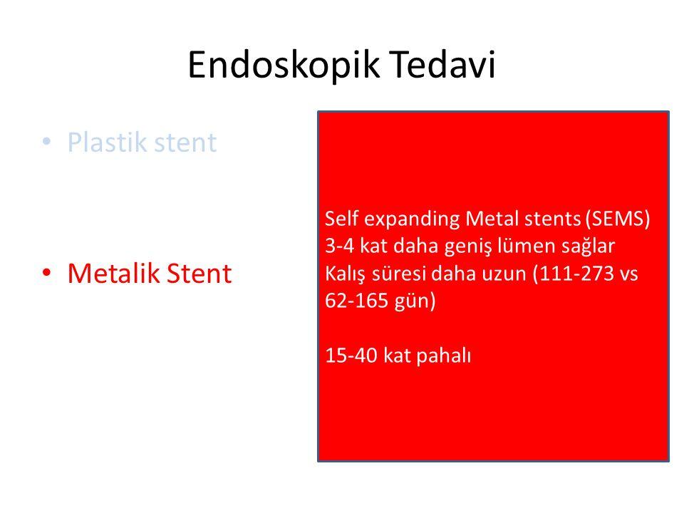Endoskopik Tedavi Plastik stent Metalik Stent Self expanding Metal stents (SEMS) 3-4 kat daha geniş lümen sağlar Kalış süresi daha uzun (111-273 vs 62