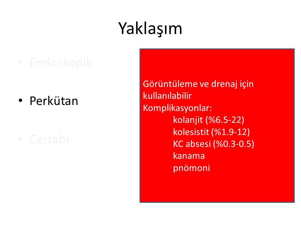 Yaklaşım Endoskopik Perkütan Cerrahi Görüntüleme ve drenaj için kullanılabilir Komplikasyonlar: kolanjit (%6.5-22) kolesistit (%1.9-12) KC absesi (%0.