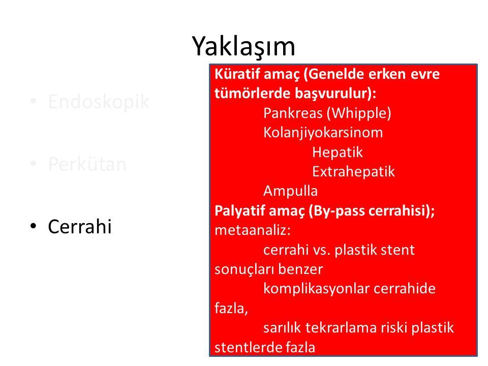 Yaklaşım Endoskopik Perkütan Cerrahi Küratif amaç (Genelde erken evre tümörlerde başvurulur): Pankreas (Whipple) Kolanjiyokarsinom Hepatik Extrahepati