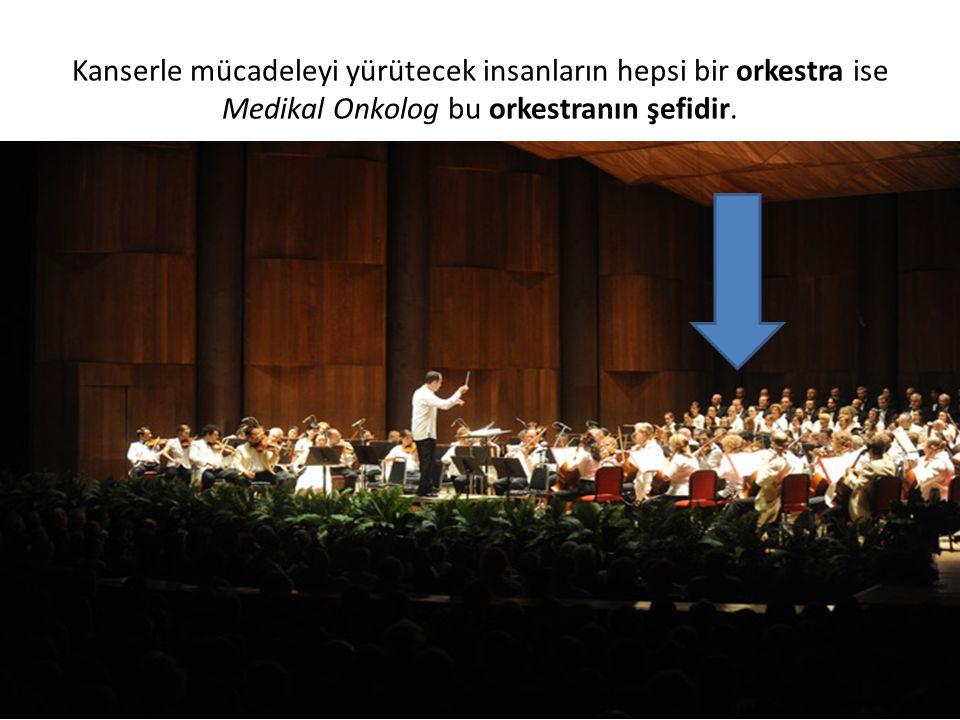 Kanserle mücadeleyi yürütecek insanların hepsi bir orkestra ise Medikal Onkolog bu orkestranın şefidir.