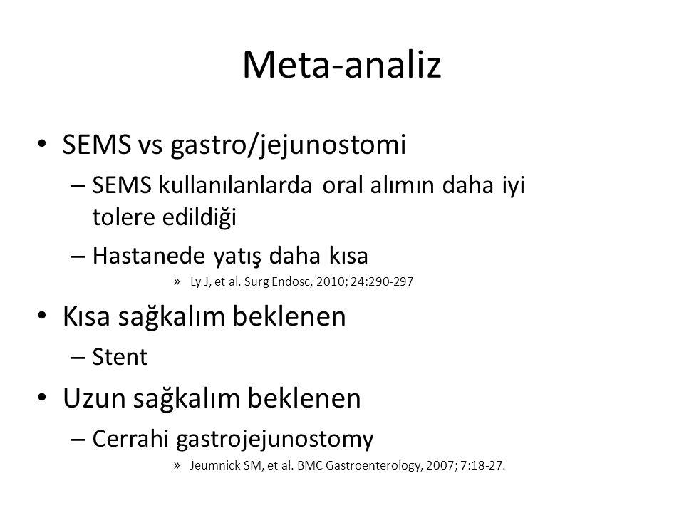 Meta-analiz SEMS vs gastro/jejunostomi – SEMS kullanılanlarda oral alımın daha iyi tolere edildiği – Hastanede yatış daha kısa » Ly J, et al. Surg End