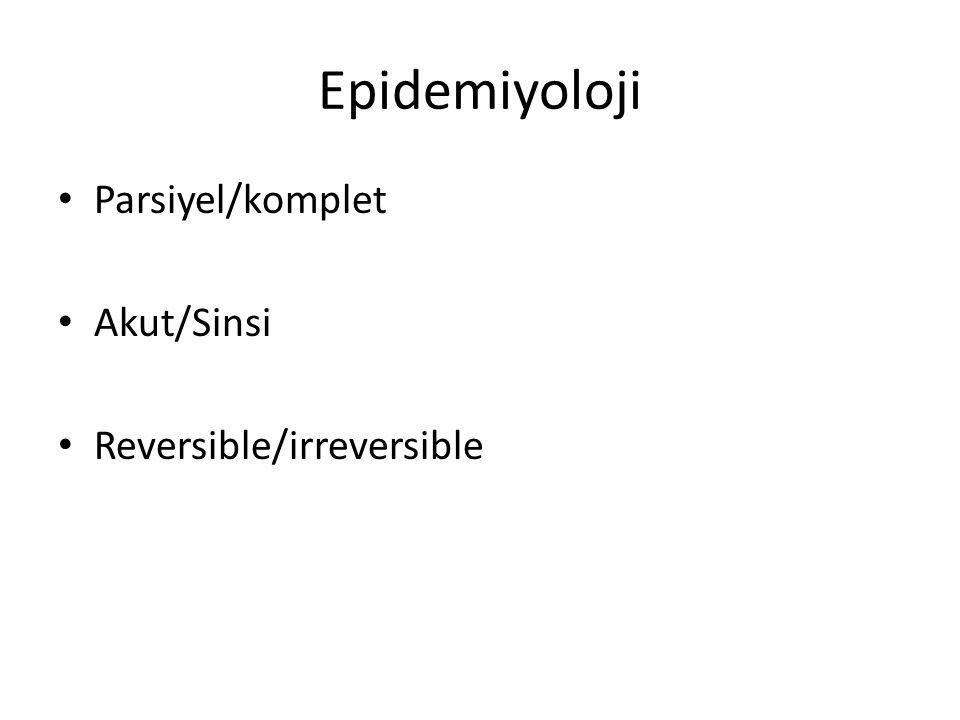 Epidemiyoloji Parsiyel/komplet Akut/Sinsi Reversible/irreversible
