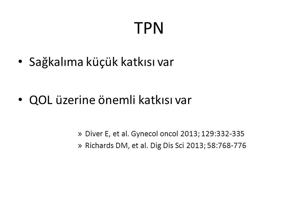 TPN Sağkalıma küçük katkısı var QOL üzerine önemli katkısı var » Diver E, et al. Gynecol oncol 2013; 129:332-335 » Richards DM, et al. Dig Dis Sci 201