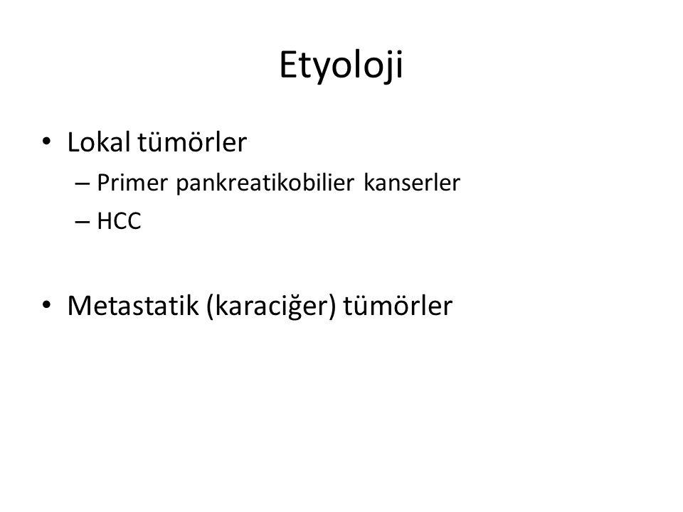 Etyoloji Lokal tümörler – Primer pankreatikobilier kanserler – HCC Metastatik (karaciğer) tümörler