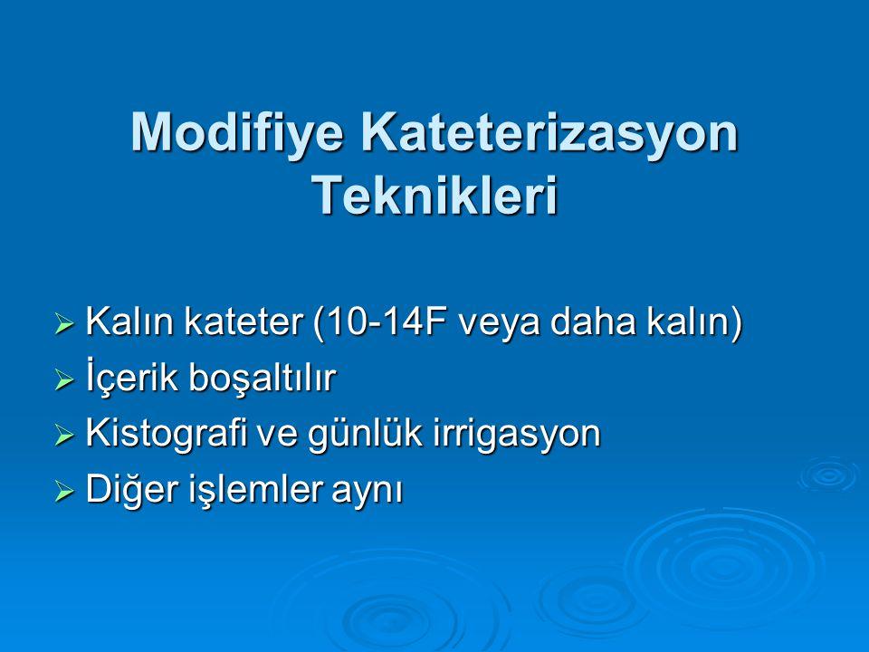 Modifiye Kateterizasyon Teknikleri  Kalın kateter (10-14F veya daha kalın)  İçerik boşaltılır  Kistografi ve günlük irrigasyon  Diğer işlemler ayn