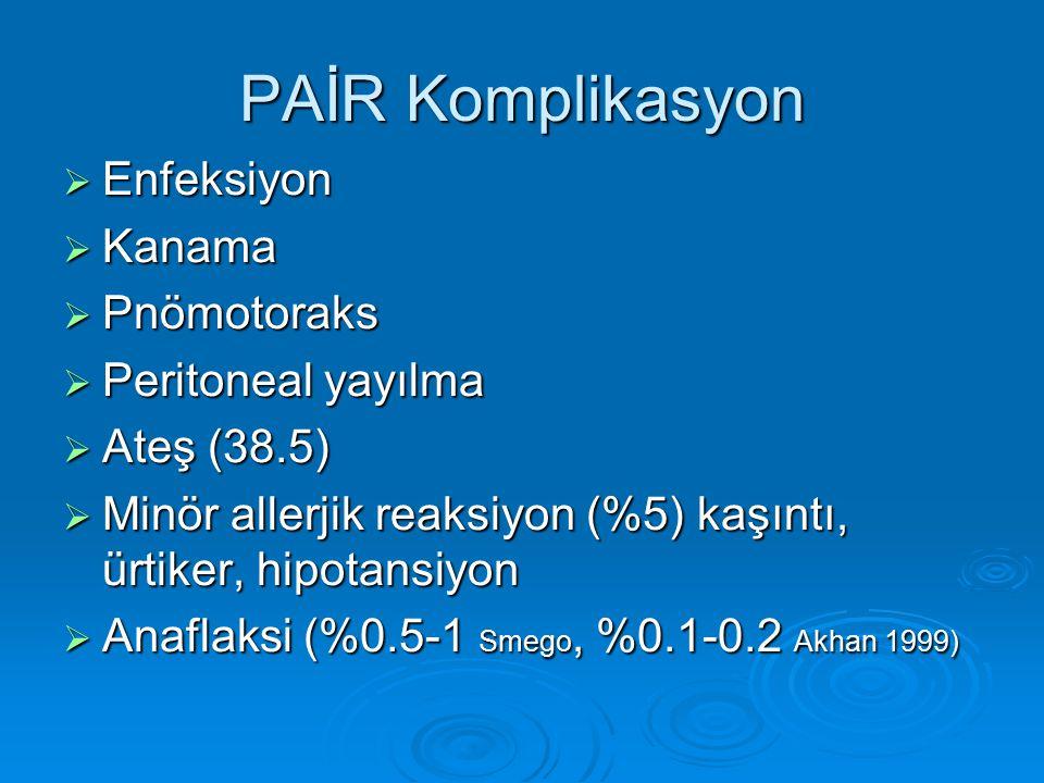 PAİR Komplikasyon  Enfeksiyon  Kanama  Pnömotoraks  Peritoneal yayılma  Ateş (38.5)  Minör allerjik reaksiyon (%5) kaşıntı, ürtiker, hipotansiyo