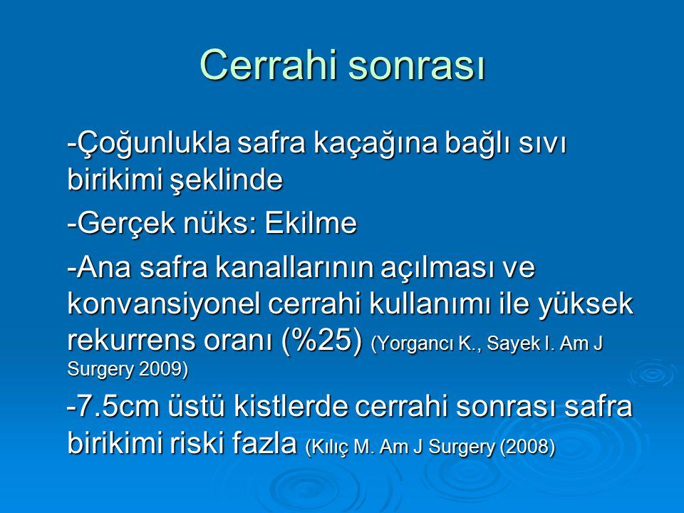 Cerrahi sonrası -Çoğunlukla safra kaçağına bağlı sıvı birikimi şeklinde -Gerçek nüks: Ekilme -Ana safra kanallarının açılması ve konvansiyonel cerrahi