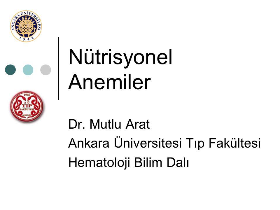 Nütrisyonel Anemiler Dr. Mutlu Arat Ankara Üniversitesi Tıp Fakültesi Hematoloji Bilim Dalı