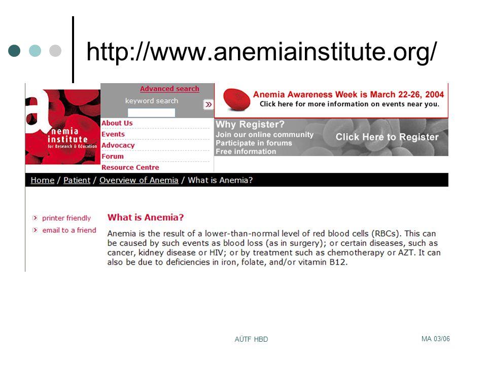 MA 03/06 AÜTF HBD http://www.anemiainstitute.org/