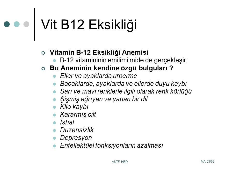 MA 03/06 AÜTF HBD Vit B12 Eksikliği Vitamin B-12 Eksikliği Anemisi B-12 vitamininin emilimi mide de gerçekleşir. Bu Aneminin kendine özgü bulguları ?