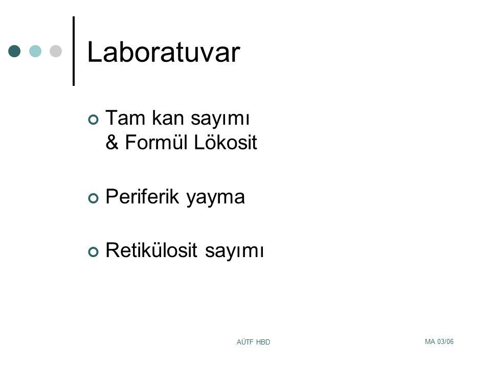 MA 03/06 AÜTF HBD Laboratuvar Tam kan sayımı & Formül Lökosit Periferik yayma Retikülosit sayımı