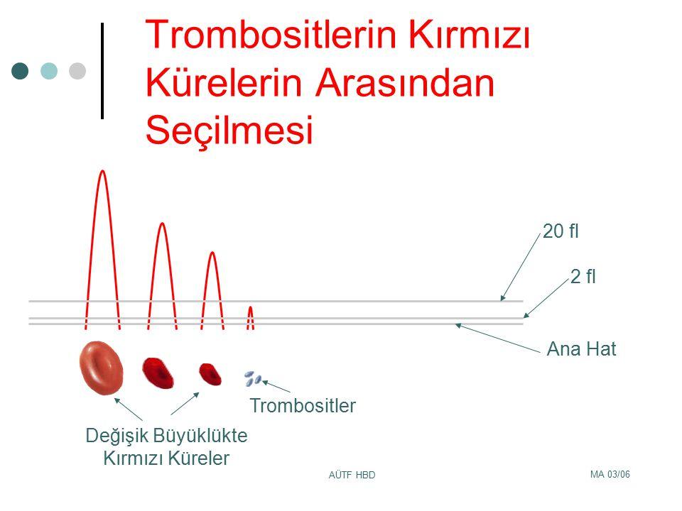 MA 03/06 AÜTF HBD Trombositlerin Kırmızı Kürelerin Arasından Seçilmesi 20 fl 2 fl Ana Hat Değişik Büyüklükte Kırmızı Küreler Trombositler