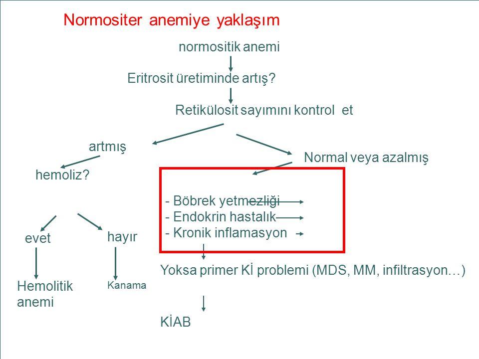 MA 03/06 AÜTF HBD Normositer anemiye yaklaşım Eritrosit üretiminde artış? Retikülosit sayımını kontrol et normositik anemi artmış hemoliz? Hemolitik a