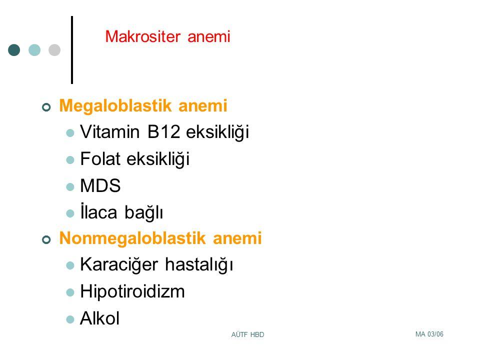 MA 03/06 AÜTF HBD Makrositer anemi Megaloblastik anemi Vitamin B12 eksikliği Folat eksikliği MDS İlaca bağlı Nonmegaloblastik anemi Karaciğer hastalığ