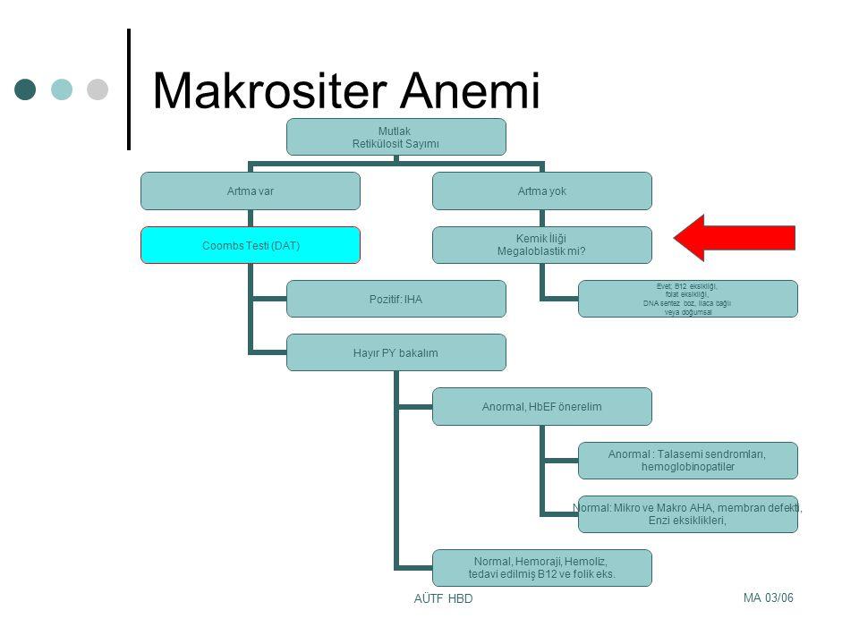 MA 03/06 AÜTF HBD Makrositer Anemi Mutlak Retikülosit Sayımı Artma var Coombs Testi (DAT) Pozitif: IHA Hayır PY bakalım Anormal, HbEF önerelim Anormal