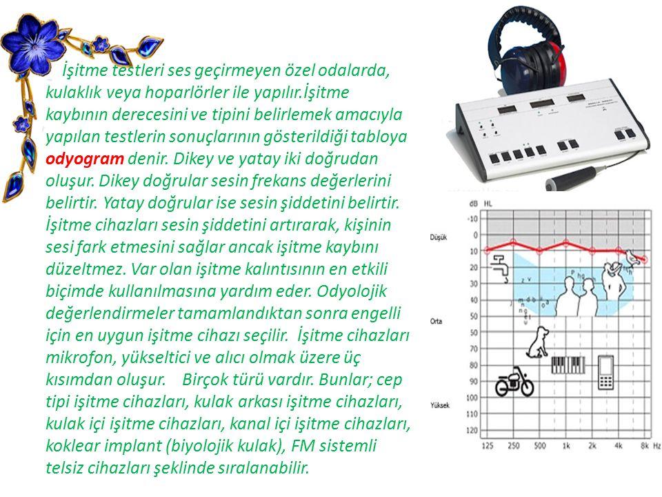 İşitme testleri ses geçirmeyen özel odalarda, kulaklık veya hoparlörler ile yapılır.İşitme kaybının derecesini ve tipini belirlemek amacıyla yapılan t
