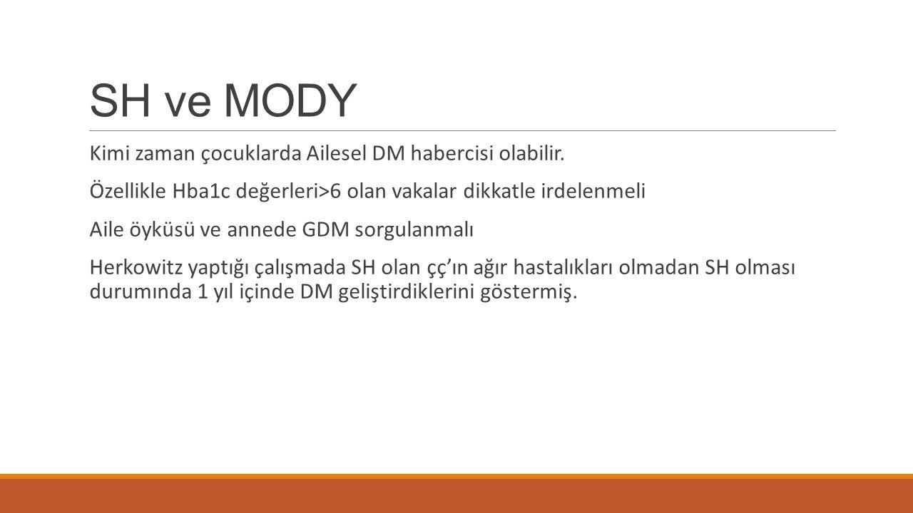 SH ve MODY Kimi zaman çocuklarda Ailesel DM habercisi olabilir. Özellikle Hba1c değerleri>6 olan vakalar dikkatle irdelenmeli Aile öyküsü ve annede GD