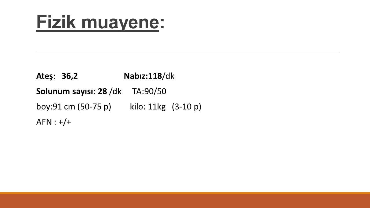 Fizik muayene: Ateş: 36,2 Nabız:118/dk Solunum sayısı: 28 /dk TA:90/50 boy:91 cm (50-75 p) kilo: 11kg (3-10 p) AFN : +/+