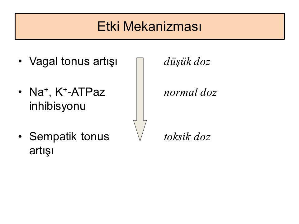 Etki Mekanizması Vagal tonus artışı Na +, K + -ATPaz inhibisyonu Sempatik tonus artışı düşük doz normal doz toksik doz