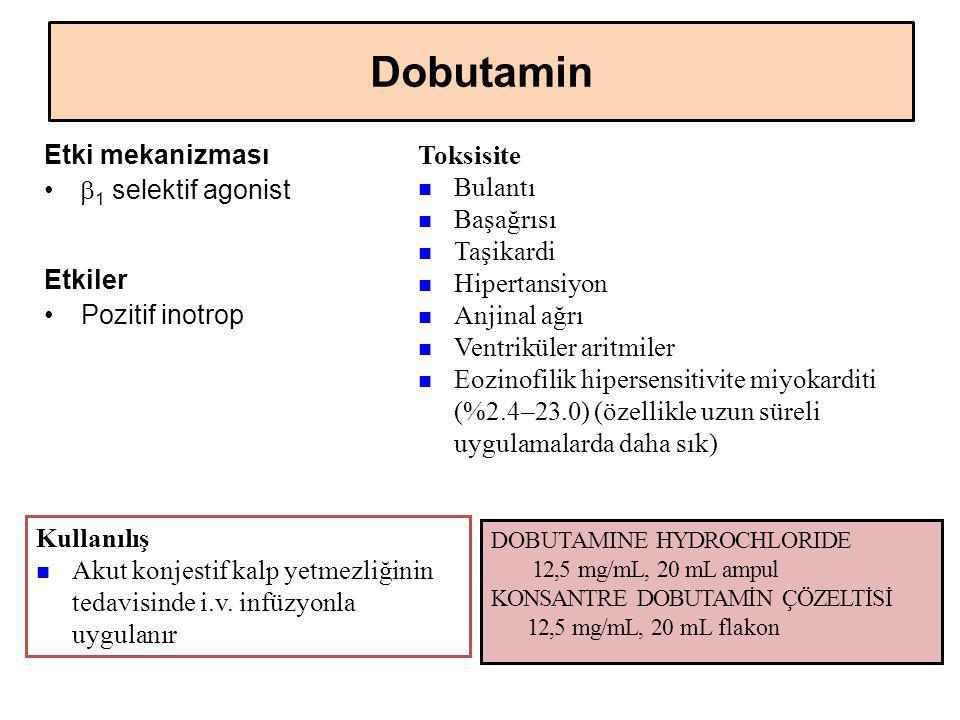 Dobutamin Etki mekanizması  1 selektif agonist Etkiler Pozitif inotrop Kullanılış Akut konjestif kalp yetmezliğinin tedavisinde i.v. infüzyonla uygul