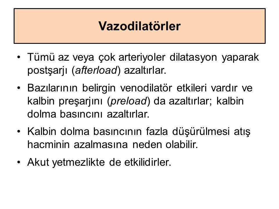 Vazodilatörler Tümü az veya çok arteriyoler dilatasyon yaparak postşarjı (afterload) azaltırlar. Bazılarının belirgin venodilatör etkileri vardır ve k