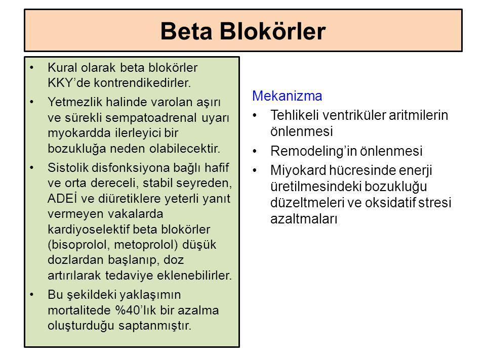 Beta Blokörler Kural olarak beta blokörler KKY'de kontrendikedirler. Yetmezlik halinde varolan aşırı ve sürekli sempatoadrenal uyarı myokardda ilerley