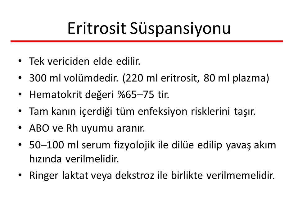Eritrosit Süspansiyonu Tek vericiden elde edilir. 300 ml volümdedir. (220 ml eritrosit, 80 ml plazma) Hematokrit değeri %65–75 tir. Tam kanın içerdiği
